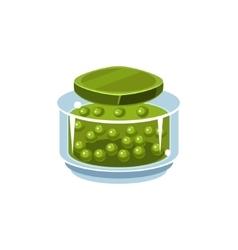 Peas in transparent jar vector