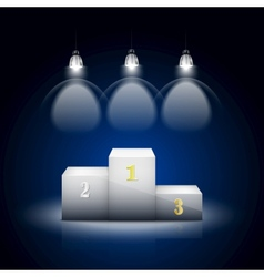 White Pedestal Illuminated By Spotlights vector image vector image