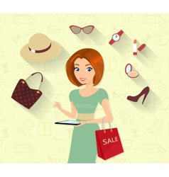 Woman doing online shopping vector image