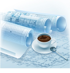 Architectural cup of coffee vector image
