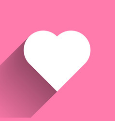 white heart long shadow icon on pink background vector image vector image