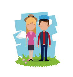 young couple field background vector image