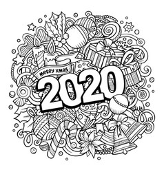 2020 doodles new year objects and vector