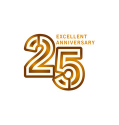 25 years excellent anniversary template design vector