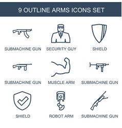 9 arms icons vector