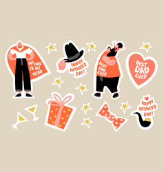a set stickers for fathers day vector image