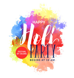 abstract watercolor background for happy holi vector image