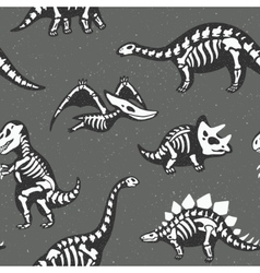 Adorable seamless pattern with funny dinosaur vector
