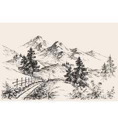 Artistic sketch mountain ranges vector