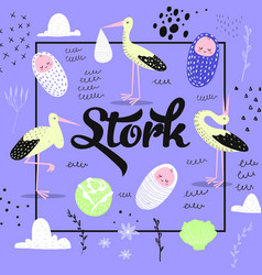 bashower card template with cute stork vector image