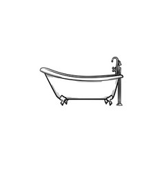 Bathtub with tap hand drawn sketch icon vector
