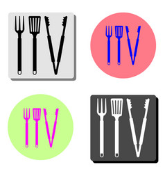 bbq or grill tools flat icon vector image