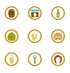beer shop icons set cartoon style vector image