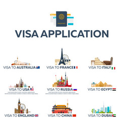 big set visa to the country australia france vector image
