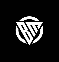 Bm logo with triangle shape and circle rounded vector