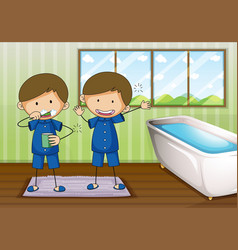 Boys brushing and cleaning in bathroom vector