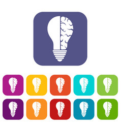 Brain lamp icons set flat vector