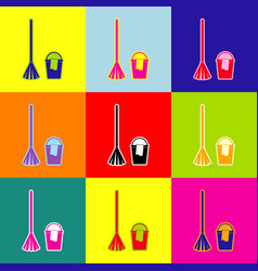 broom and bucket sign pop-art style vector image