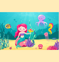 cartoon mermaid background with fish rocks coral vector image