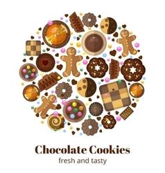 Chocolate christmas cookies vector image