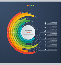 Circle informative infographic design 8 options vector