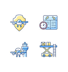Civil aviation safety flights rgb color icons set vector