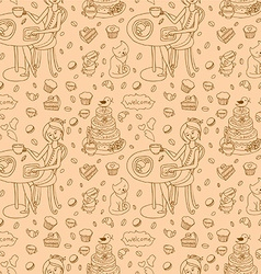 Coffee and cakes seamless background pattern vector