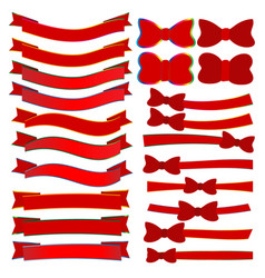 Collection of red christmas ribbons vector