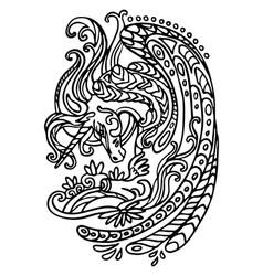 Coloring doodle unicorn vector