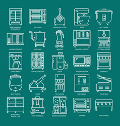 commercial kitchen equipment icon set in line vector image