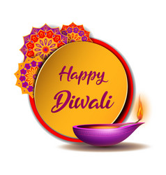 congratulation banner with burning diya and yellow vector image