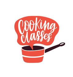 Cooking classes label flat vector