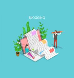 creative blogging isometric flat conceptual vector image