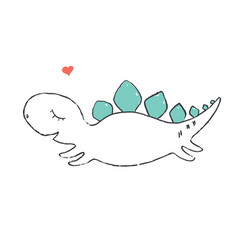 Cute little dino vector
