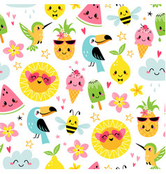 Cute summer characters pattern vector