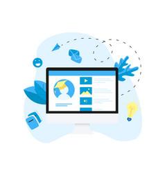 desktop online education app e-learning concept vector image