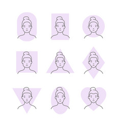 different forms of a woman s face vector image