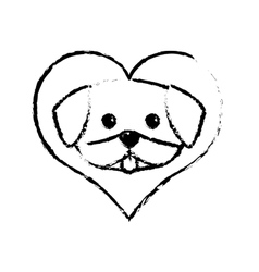 dog cute tongue out love sketch vector image