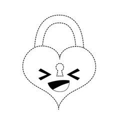 Dotted shape happy heart padlock kawaii personage vector