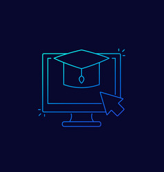 E-learning online education linear icon vector