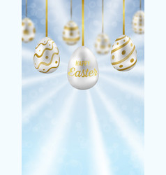 easter eggs on blue sky with bokeh effect greeting vector image