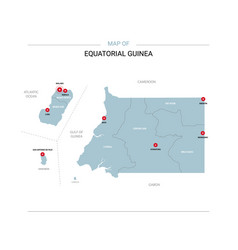 equatorial guinea map with red pin vector image