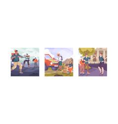 excursion square compositions set vector image