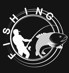 fish and fisherman symbol for fishing vector image