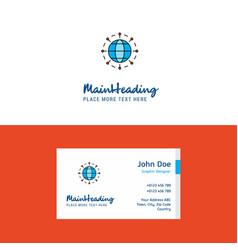 flat globe logo and visiting card template vector image