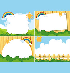 Four background template with sun and blue sky vector