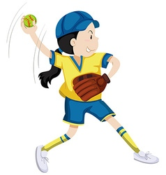Girl with softball glove and ball vector