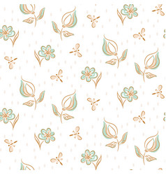 hand drawn flower pattern seamless vector image