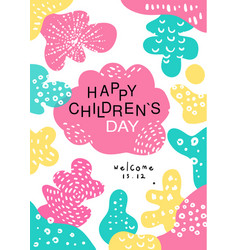 happy childrens day poster with date template can vector image