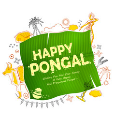 happy pongal holiday harvest festival of tamil vector image